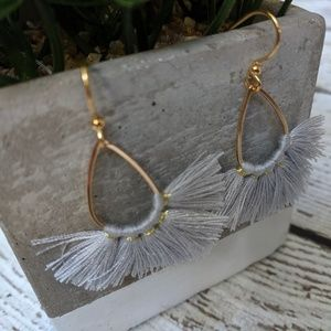 Jewelry - Grey and Gold fanned Fringed Earrings